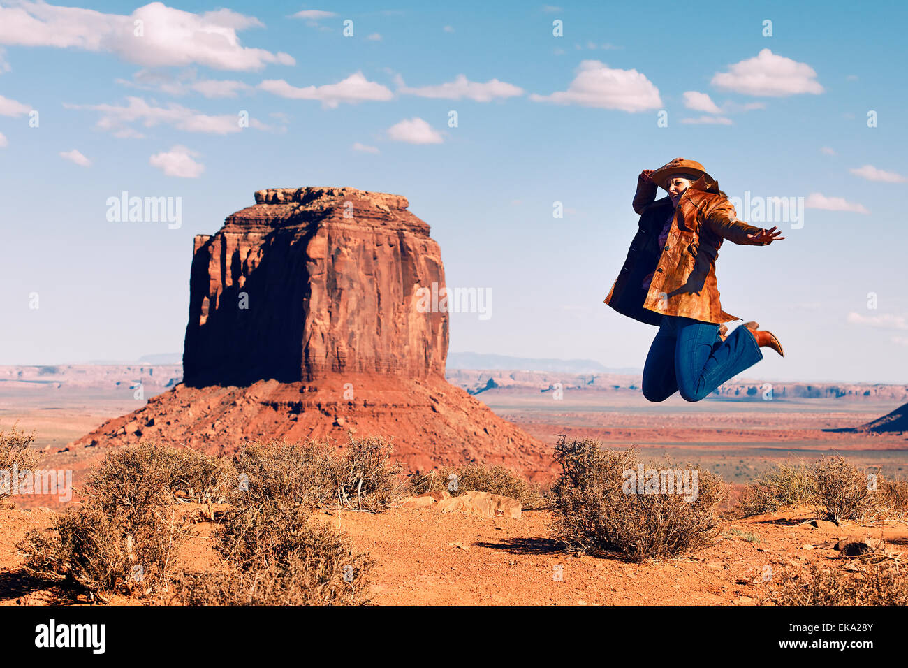 jump at Monument Valley - Stock Image