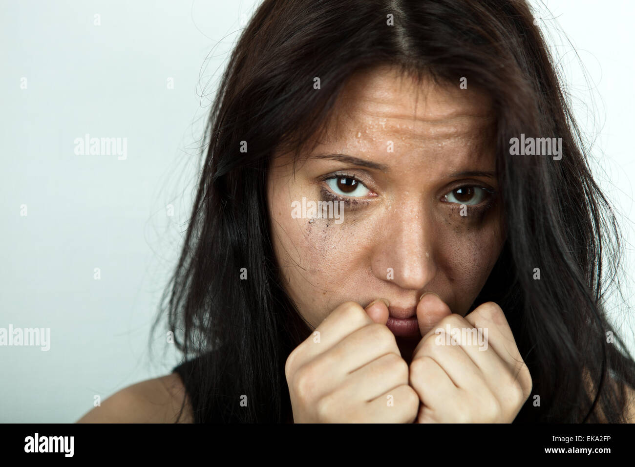 crying young woman - Stock Image