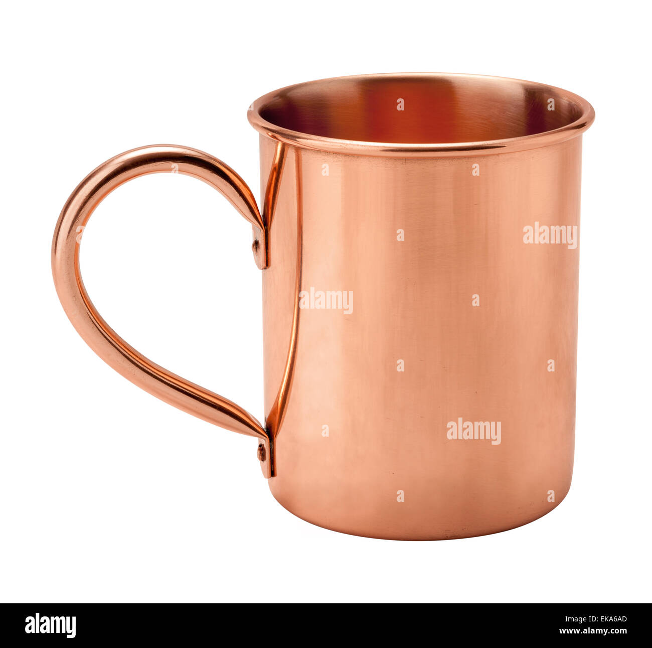 Vintage Copper Mug showing the handle. - Stock Image