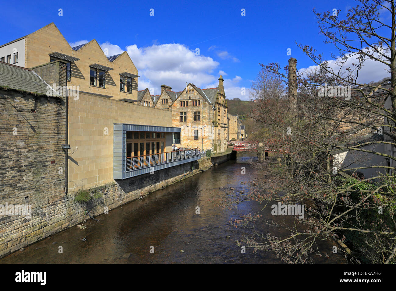 Old and new Town Hall buildings by Hebden Water, Hebden Bridge, West Yorkshire, England, UK. - Stock Image