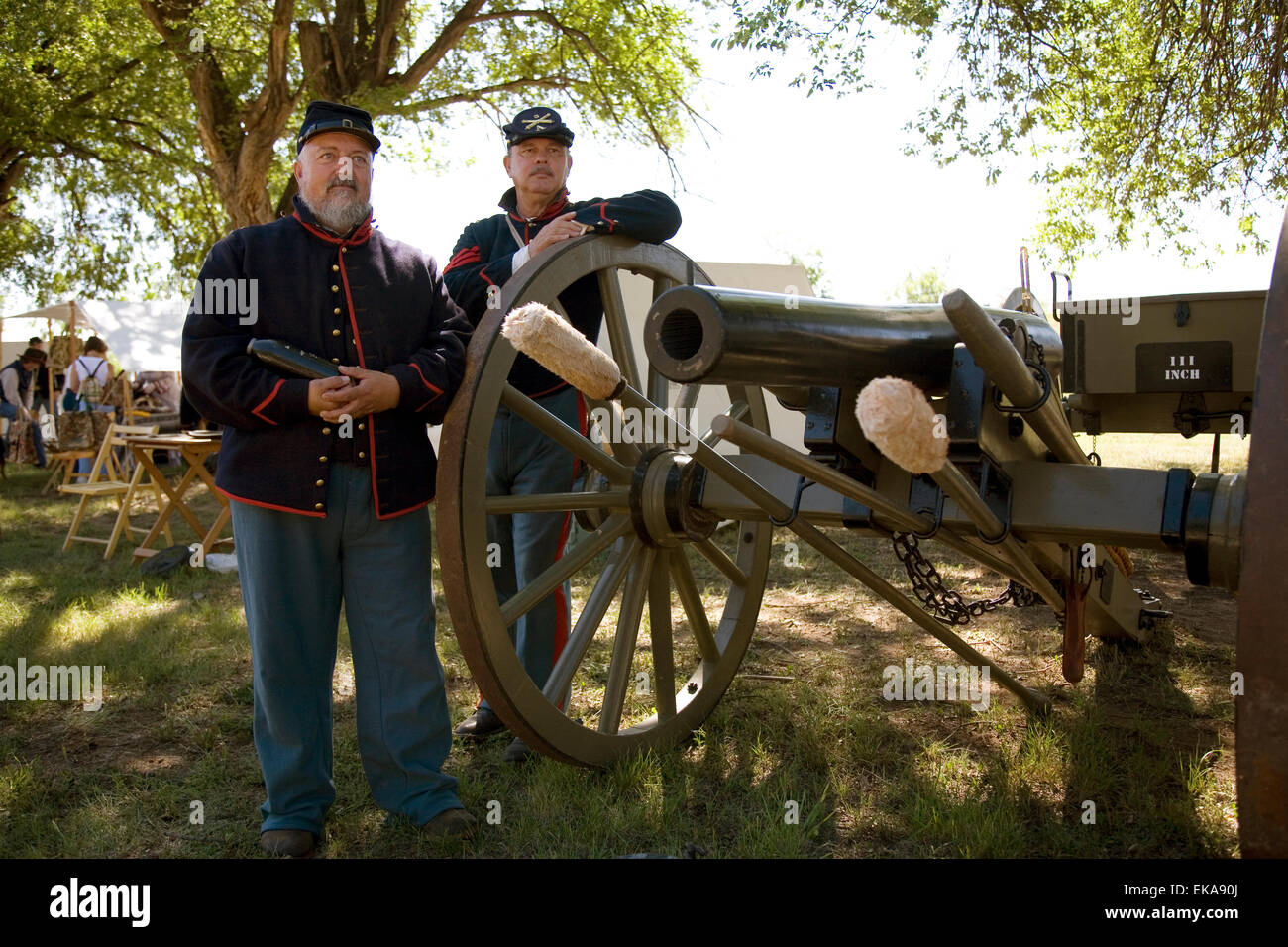 Costumed interpreters at Fort Stanton Live! celebration, near Lincoln, NM, USA - Stock Image