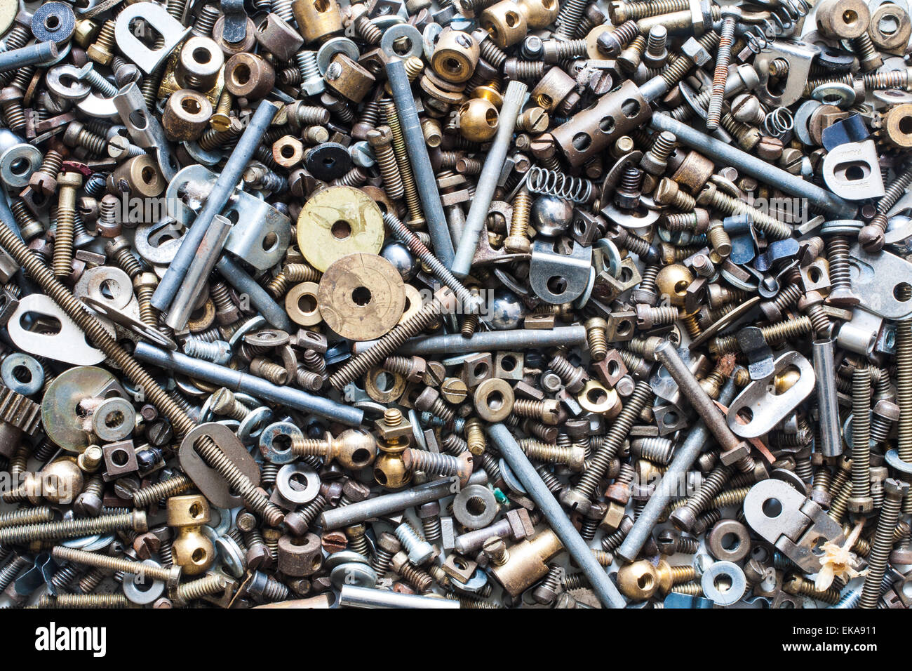 Nuts, Bolts, Washers, Etc, In Close Up - Stock Image