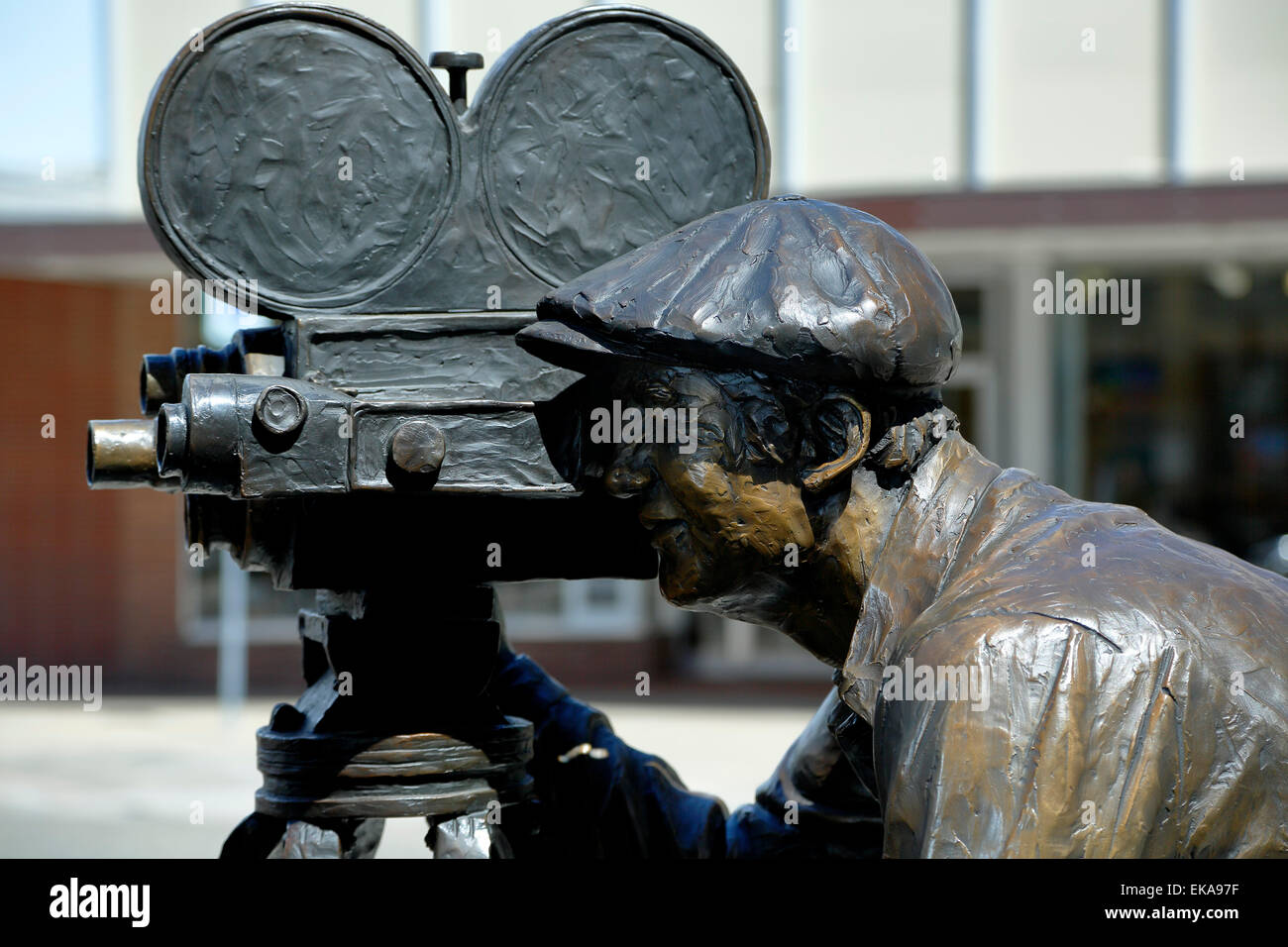 Detail of 'Persistence of Vision' sculpture, by Pat Kennedy, historic Downtown Loveland, Colorado USA - Stock Image