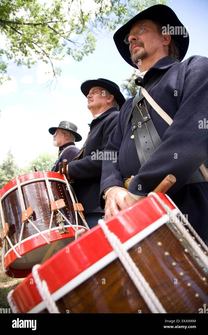 Costumed interpreter band at the annual Fort Stanton Live! celebration, near Lincoln, NM, USA - Stock Image