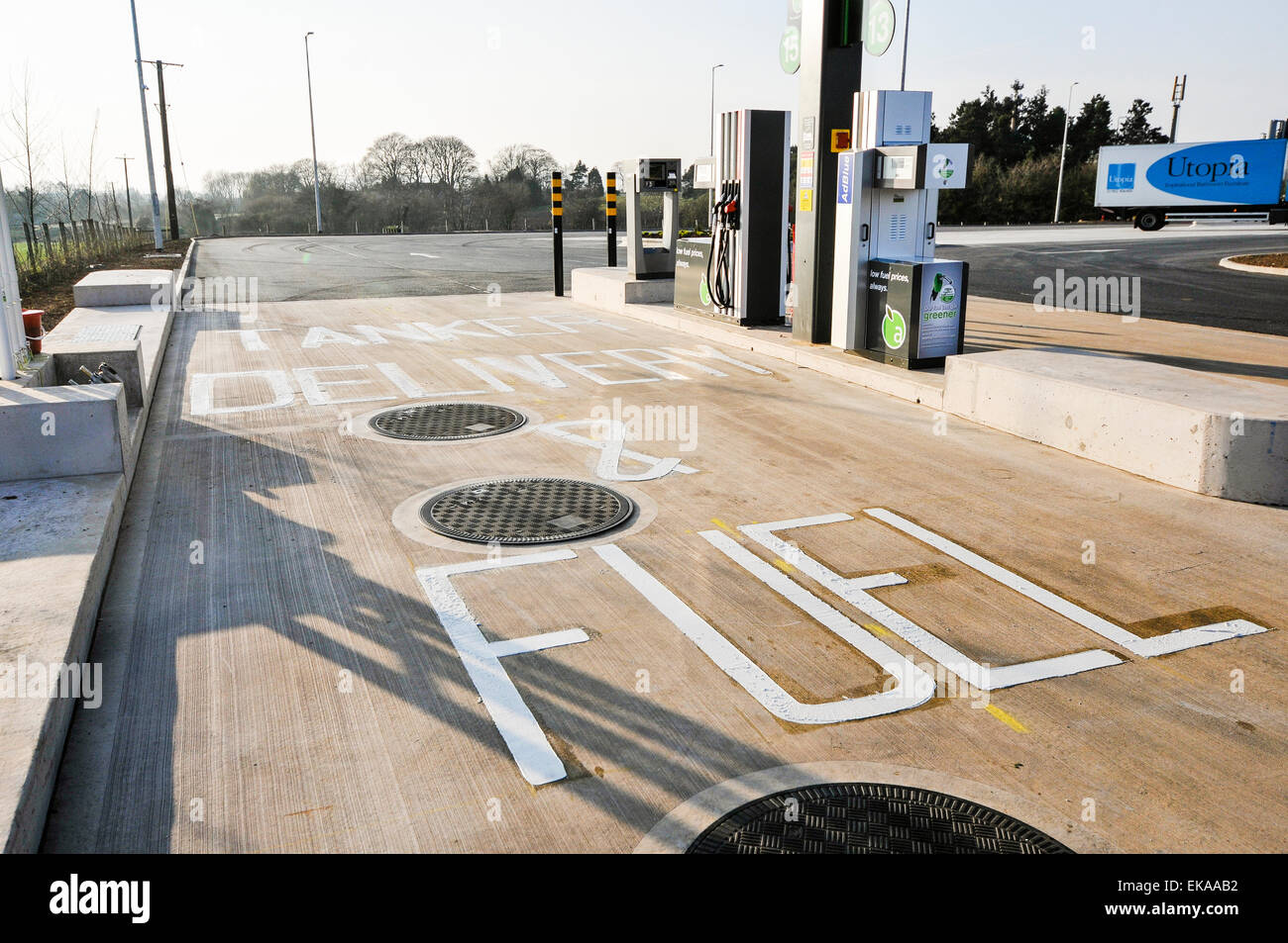 Diesel pump at an Applegreen motorway service station for trucks and