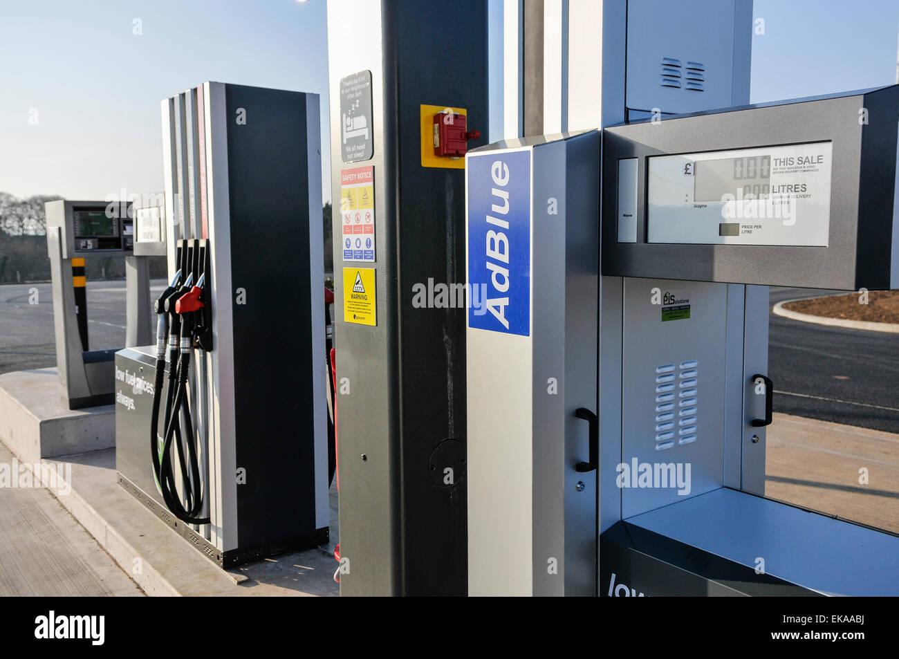 Diesel Exhaust Fluid >> Diesel pump at an Applegreen motorway service station for trucks and Stock Photo: 80747622 - Alamy