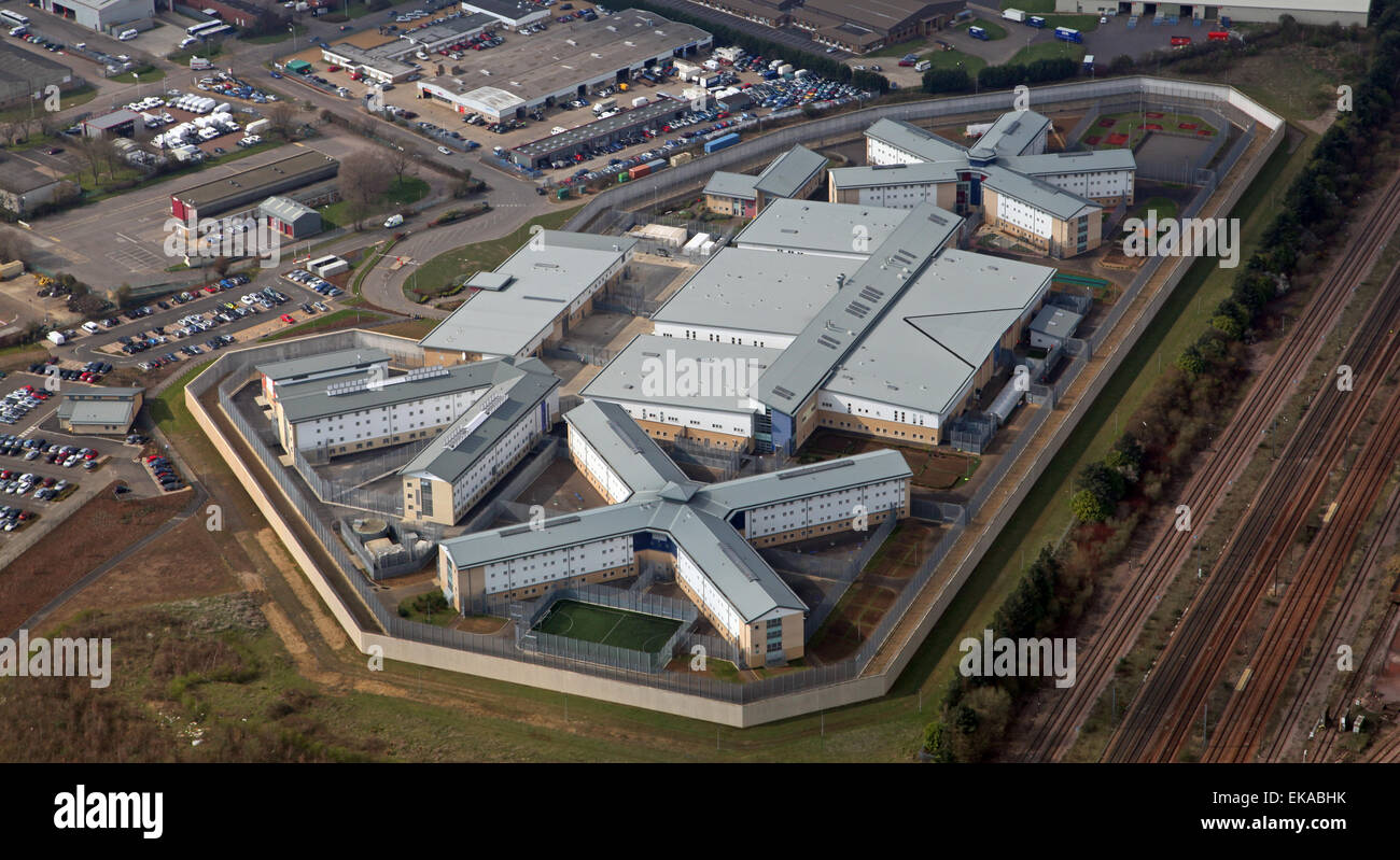 aerial view of HM Prison Peterborough, Category B prisons - Stock Image