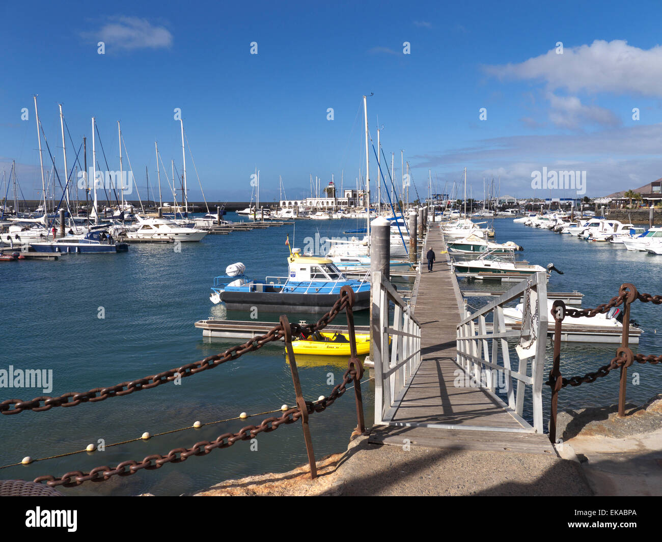 Marina Rubicon luxury marina moorings Lanzarote Canary Islands Spain - Stock Image