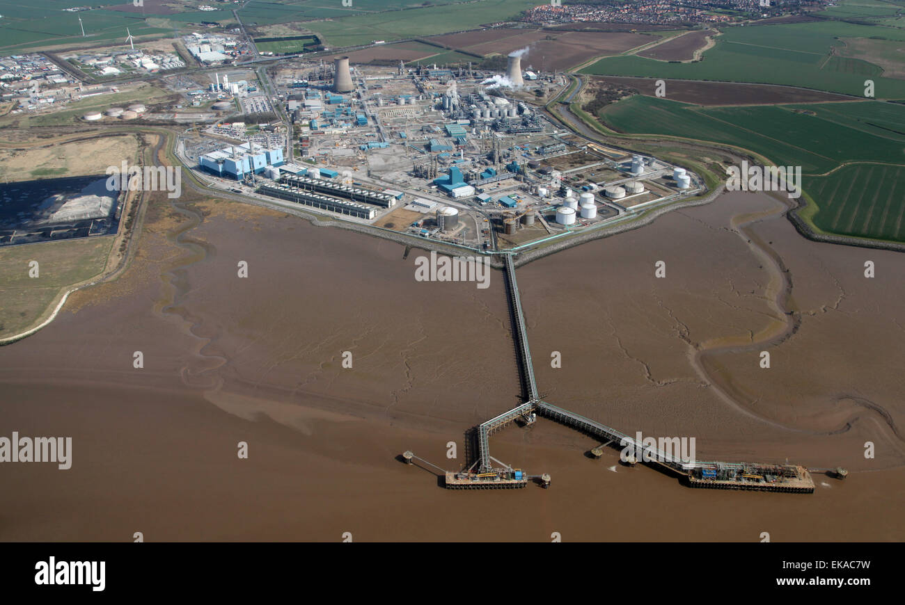 aerial view of Salt End BP Chemical Works near Hedon, Hull, UK - Stock Image