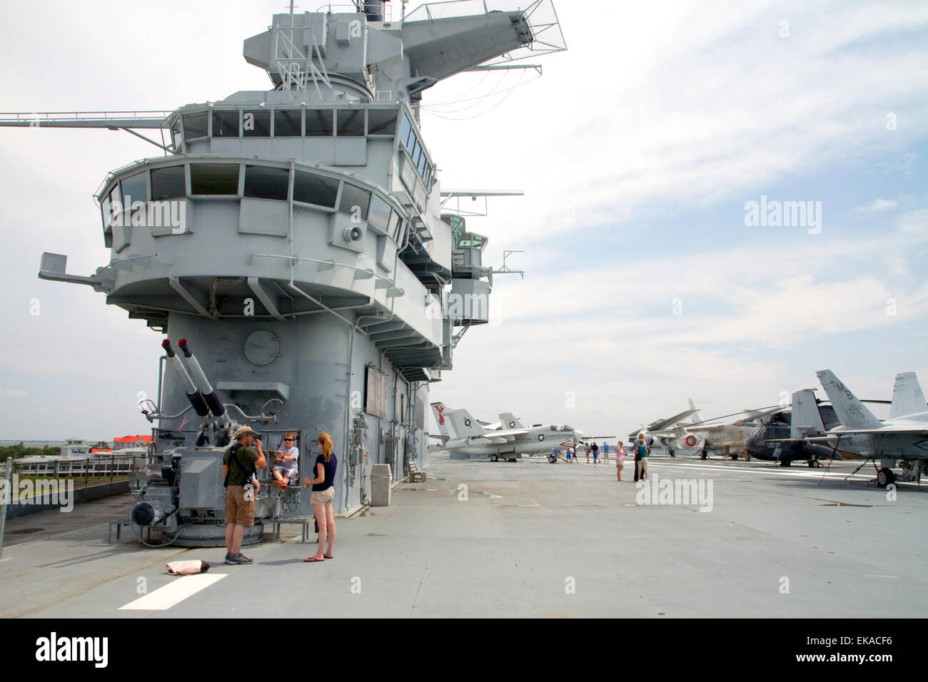 The USS Yorktown aircraft carrier at Patriots Point Naval and Maritime Museum located in Mount Pleasant, South Carolina, - Stock Image