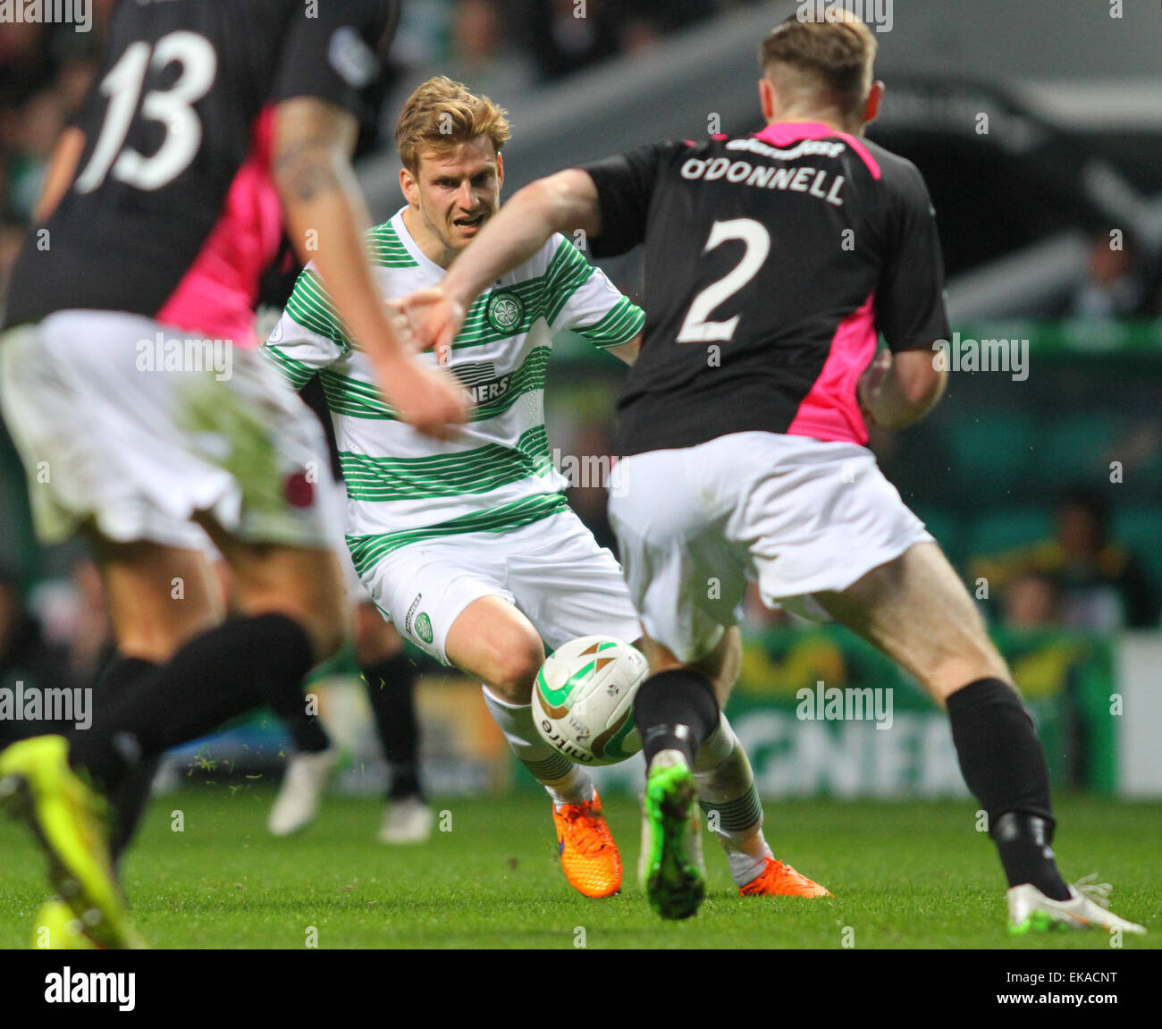 Glasgow, Scotland. 08th Apr, 2015. Scottish Premier League. Celtic versus Partick Thistle. Stuart Armstrong tries - Stock Image