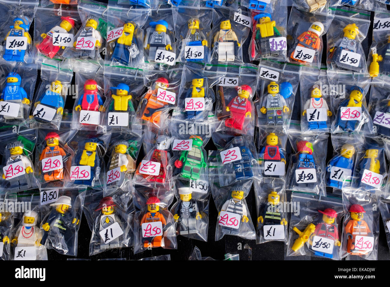 A selection of secondhand Lego figures and models for sale, Ayrshire, Scotland, UK - Stock Image