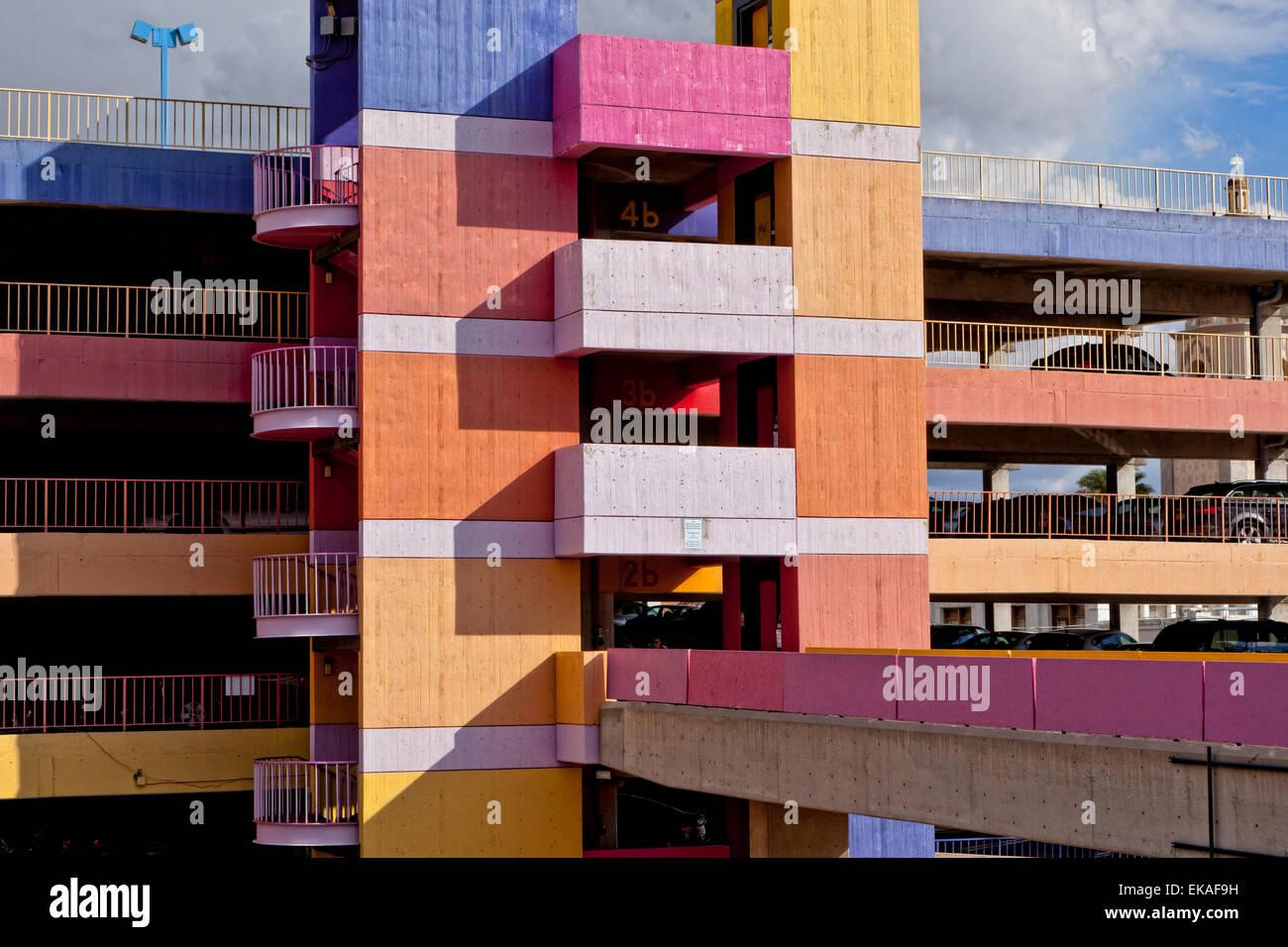Colorful Parking Garage - Stock Image