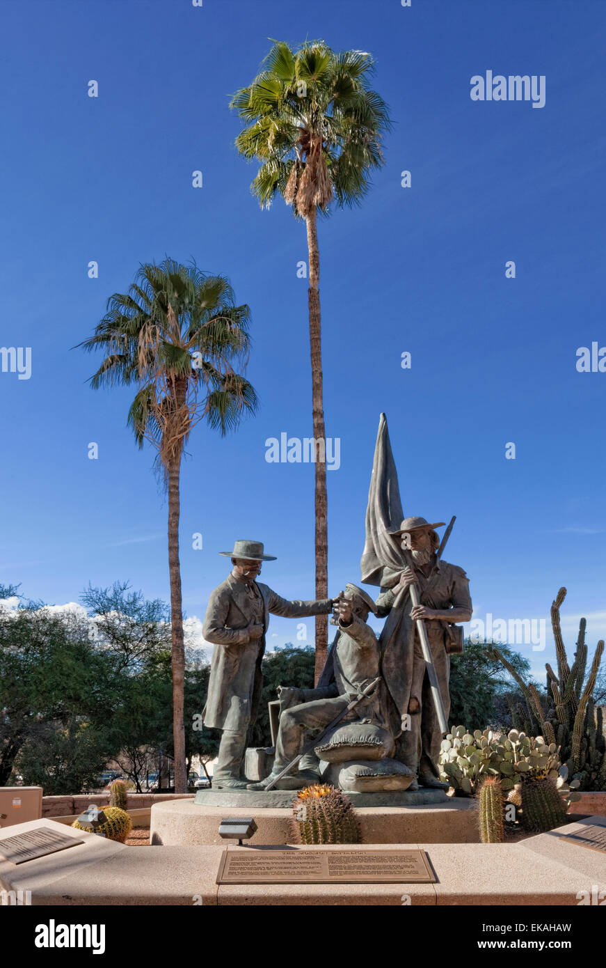 Mormon Battalion Statue in Tucson, AZ.  The Mormon Battalion, the only religiously based unit in United States military - Stock Image