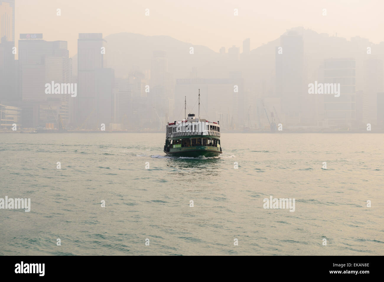 Hong Kong Star Ferry on a smoggy Hong Kong Day Stock Photo