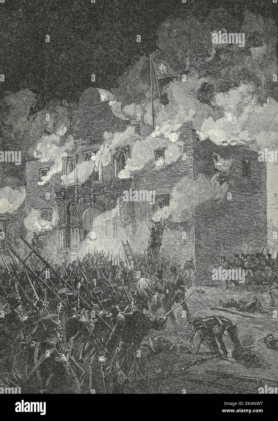 The fall of the Alamo, March 1836 - Stock Image