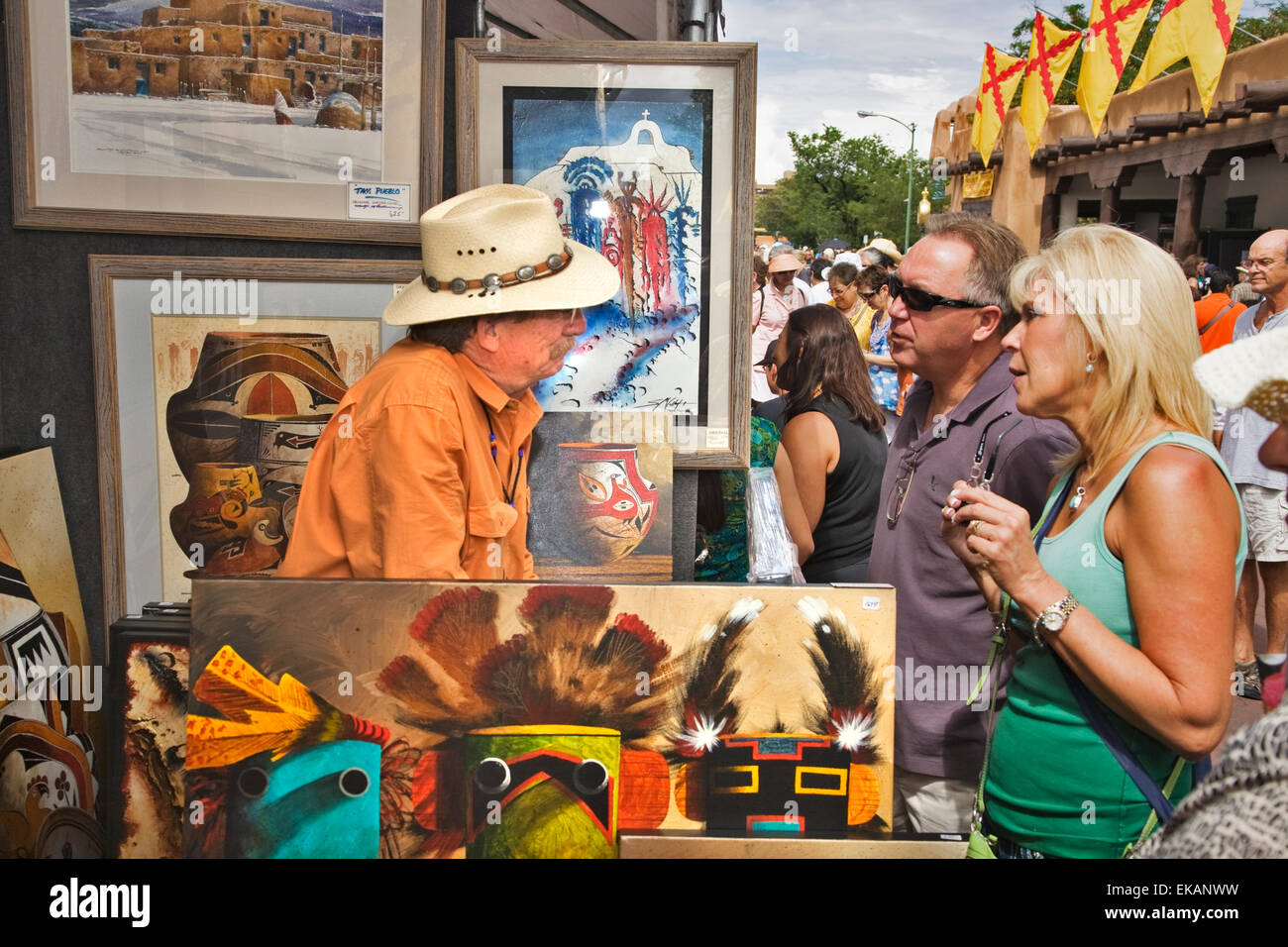 The annual Indian Market, held on the plaza each August in Santa Fe, is the single largest Native American art event - Stock Image