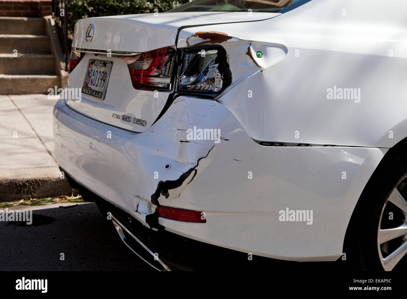 Car accident damage on rear end - USA - Stock Image