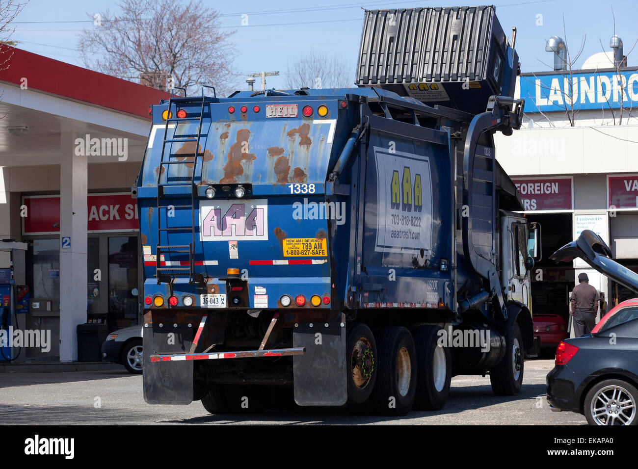 Refuse collection truck - USA - Stock Image