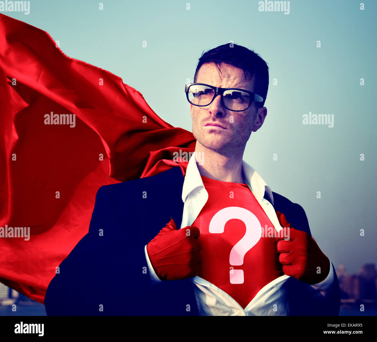 Strong Superhero Businessman Question Mark Concepts - Stock Image