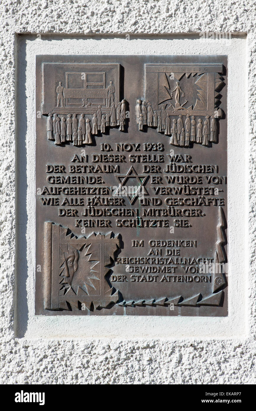 Plaque in memory of the victims of the dictatorship in Nazi Germany, Hanseatic city of Attendorn, Sauerland, Germany - Stock Image