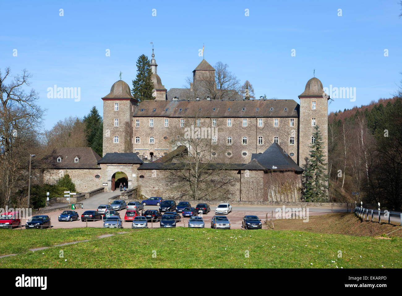 Burg Schnellenberg Castle, Hanseatic City of Attendorn, Sauerland region, North Rhine-Westphalia, Germany, Europe - Stock Image