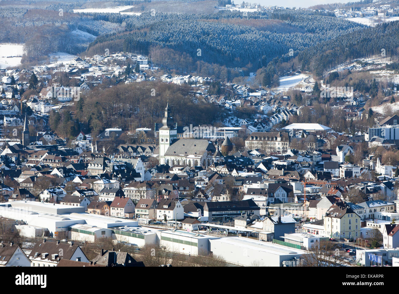 Overlooking Attendorn, Hanseatic City, Sauerland region, North Rhine-Westphalia, Germany, Europe, Ausblick auf die Stock Photo