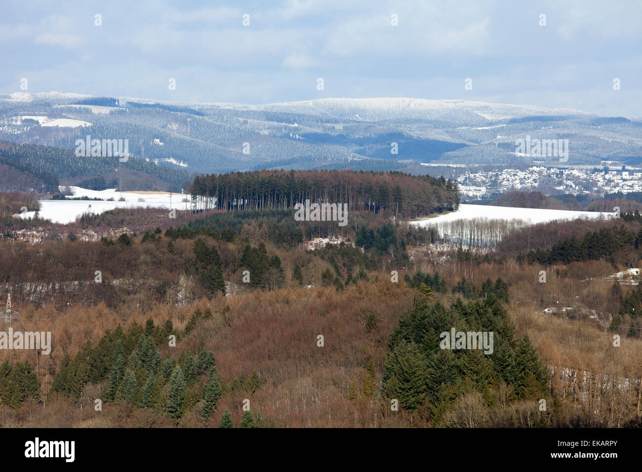 Overlooking Attendorn, Hanseatic City, Sauerland region, North Rhine-Westphalia, Germany, Europe, - Stock Image
