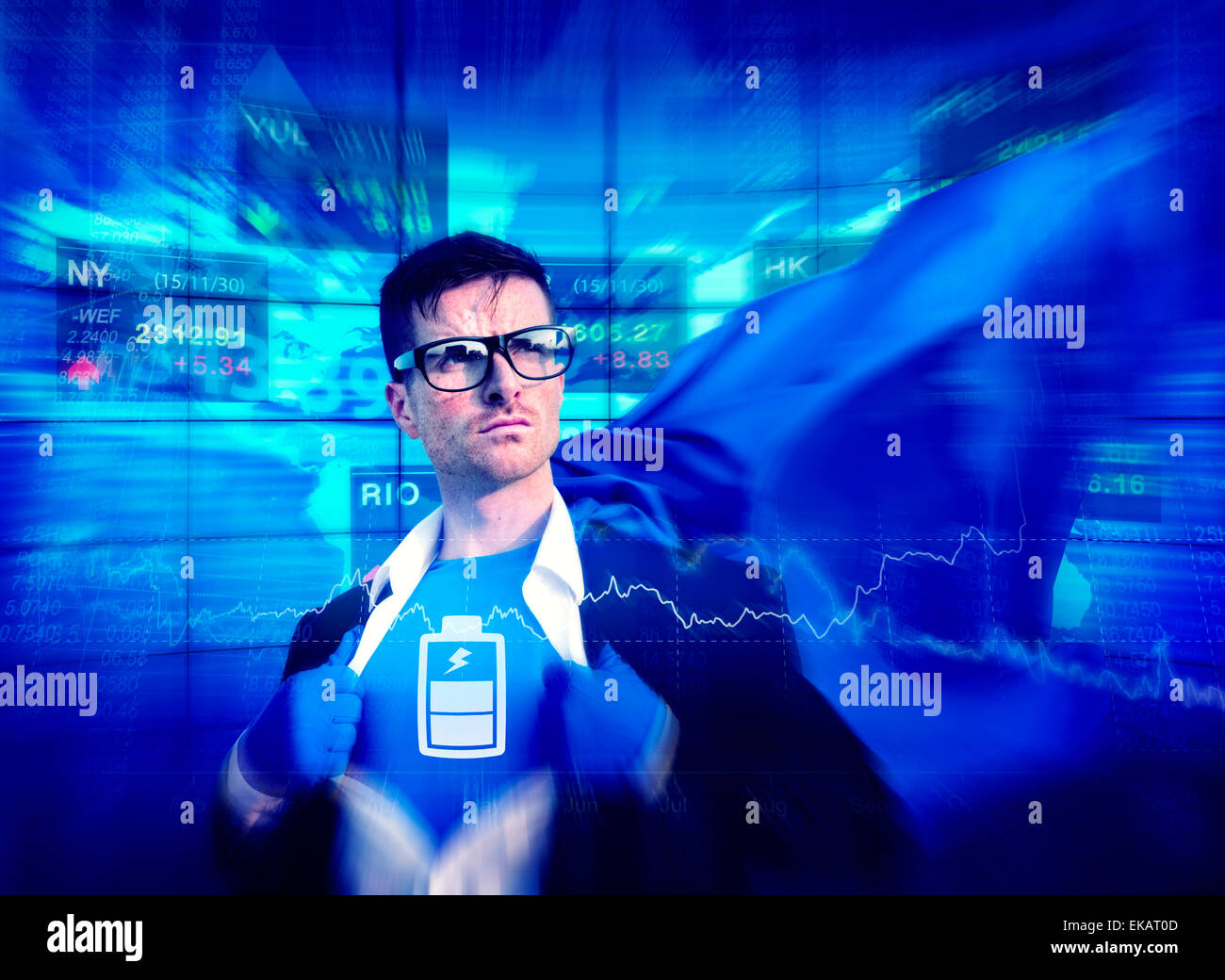 Battery Strong Superhero Success Professional Empowerment Stock Concept - Stock Image