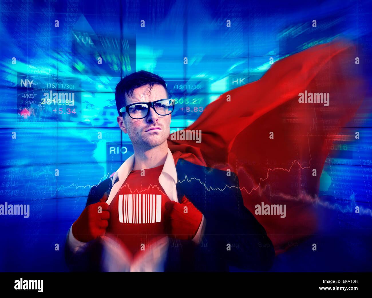Barcode Strong Superhero Success Professional Empowerment Stock Concept - Stock Image