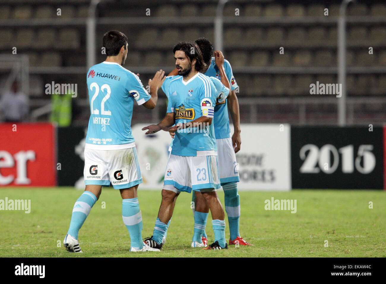 Tachira. 9th Apr, 2015. Sporting Cristal's players react before the Group 8 match of the Libertadores Cup against - Stock Image