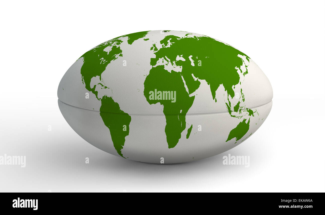 A Plain White Textured Rugby Ball With A World Map Printed On It On