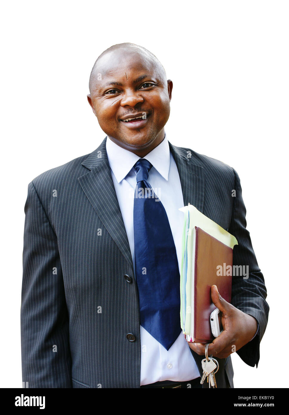 African business man in suit on white Stock Photo