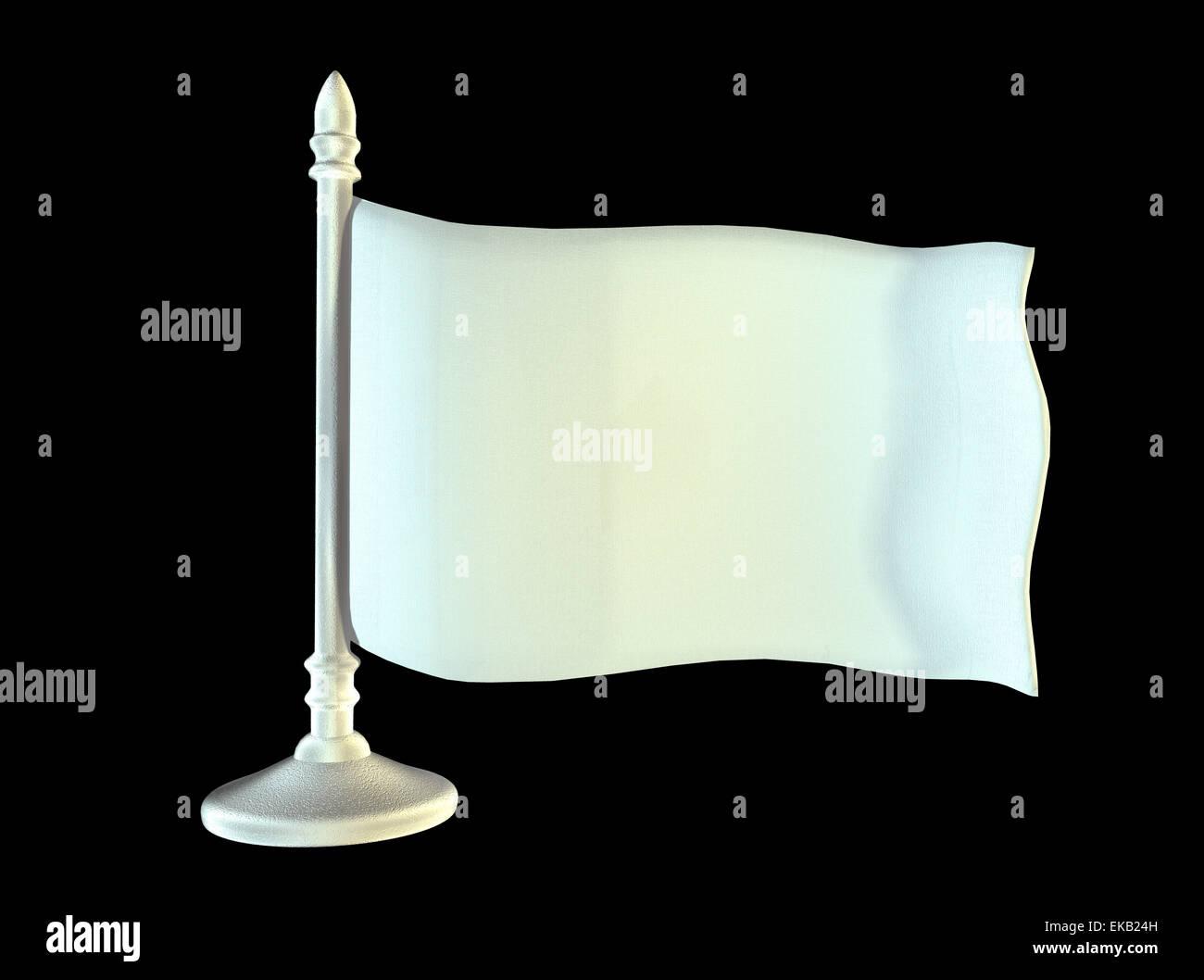 White blank flag on metal shiny flagpole. 3D generated image rendering - Stock Image