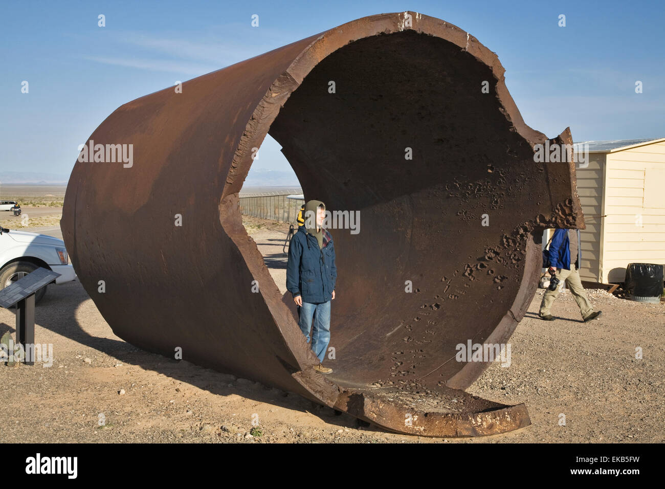 A thick iron casing nicknamed JUMBO was originally created to contain any plutonium that might be scattered out - Stock Image
