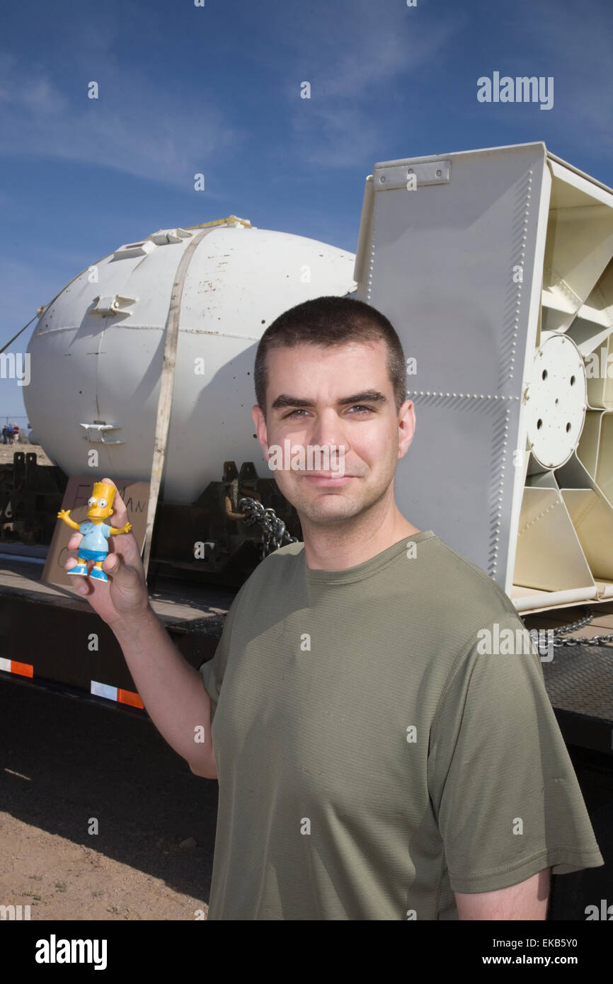 At the Trinity Atomic Bomb Test Site in Socorro, New Mexico, Anthony 'Tony' Vanderpool  poses with the Fat - Stock Image