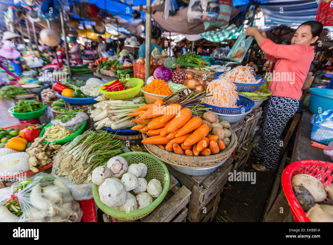 Fresh produce at local market in Chau Doc, Mekong River Delta, Vietnam, Indochina, Southeast Asia, Asia - Stock Image
