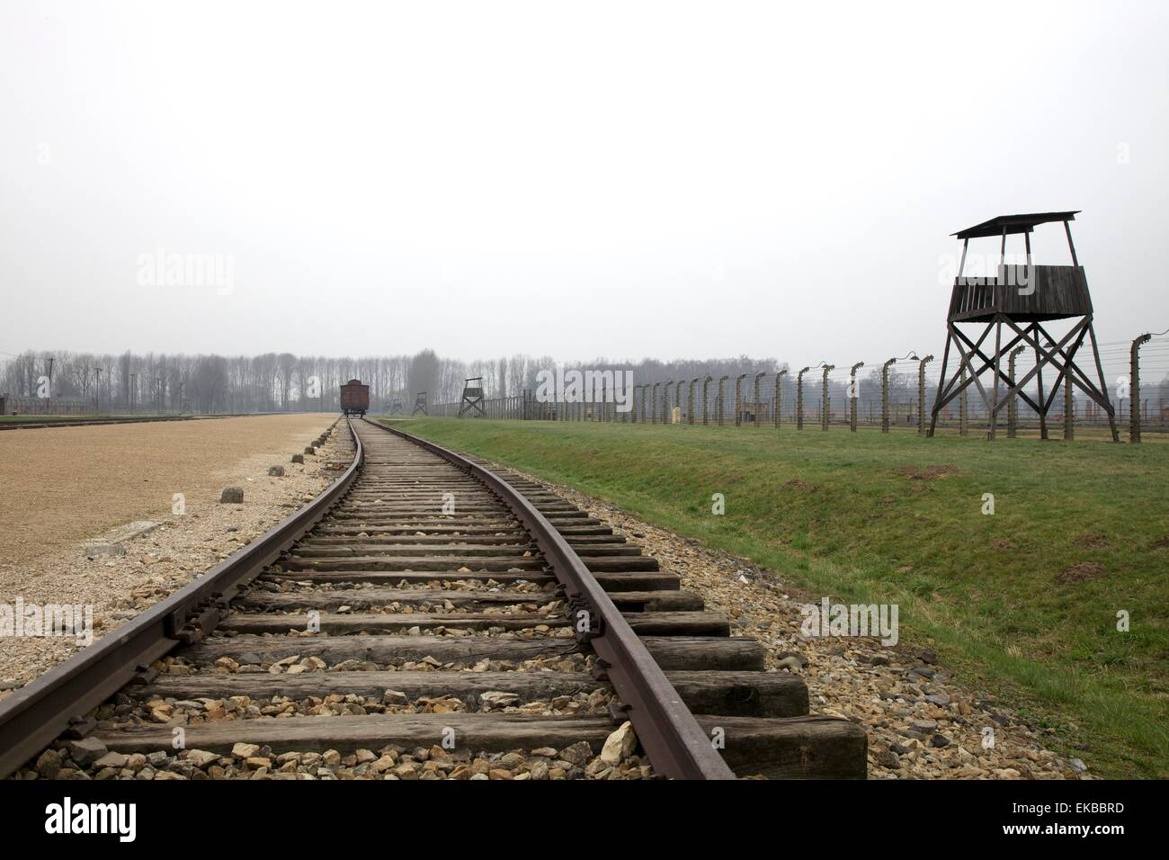 Auschwitz ll Birkenau Concentration Camp, UNESCO World Heritage Site, Brzezinka, Poland, Europe - Stock Image