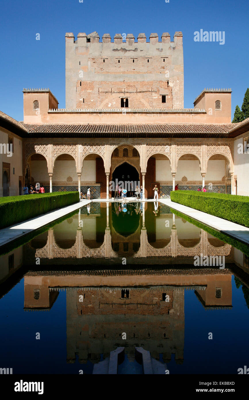 Palacio de Comares, one of the three palaces that forms the Palacio Nazaries, Alhambra, UNESCO, Granada, Andalucia, - Stock Image