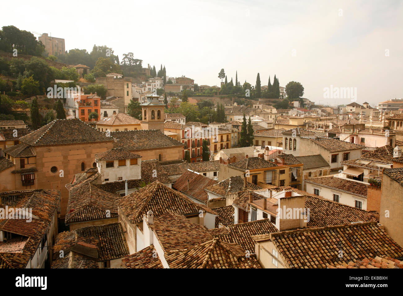 View over the rooftops in the Albayzin, Granada, Andalucia, Spain, Europe - Stock Image
