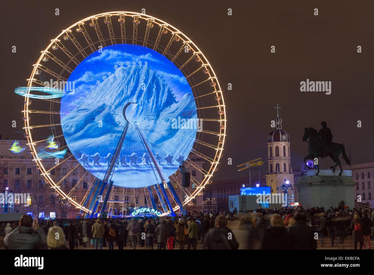 Place Bellecour, Fete des Lumieres (Festival of Lights) laser show, Lyon, Rhone-Alpes, France, Europe - Stock Image