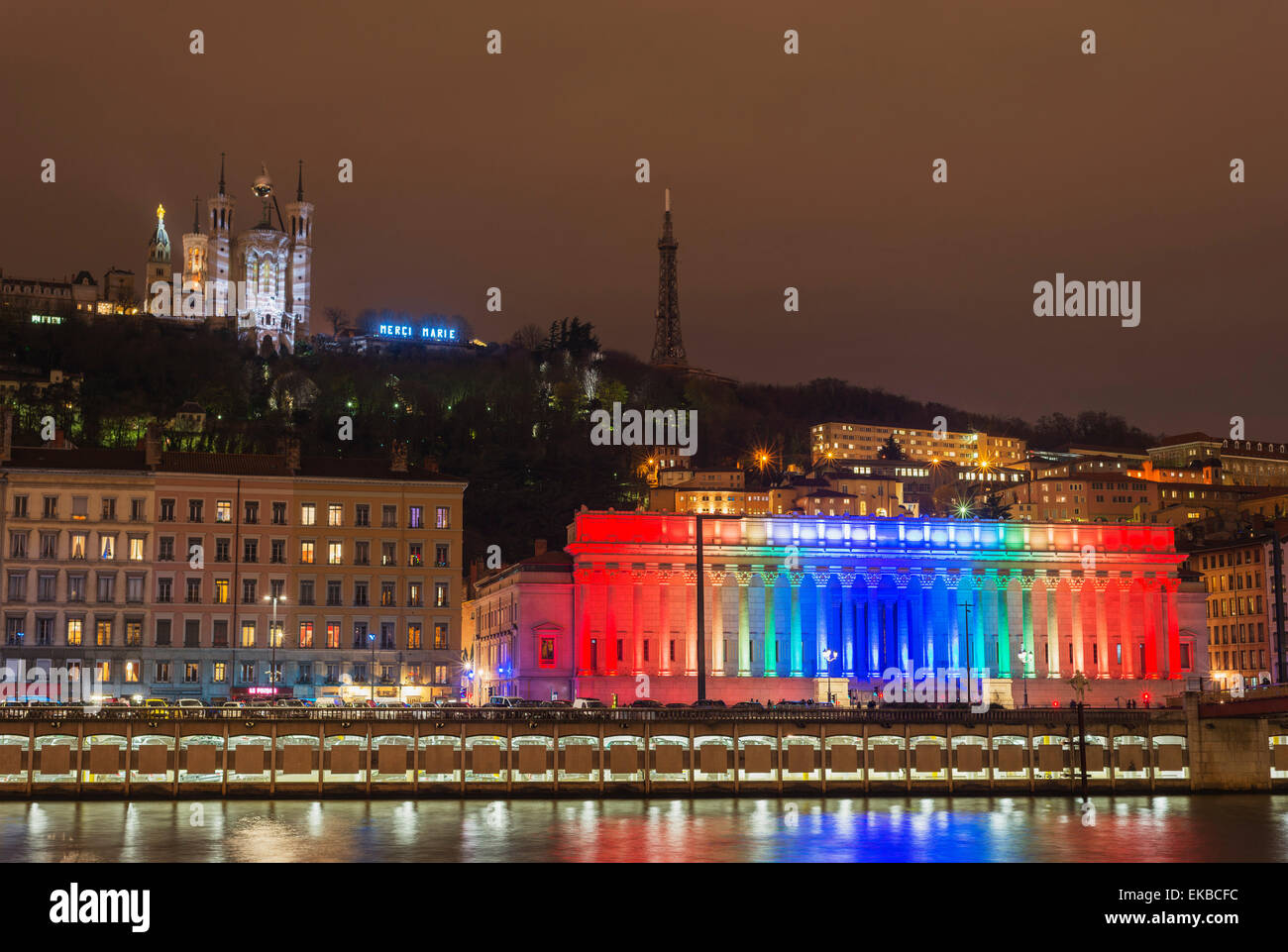 Fete des Lumieres (Festival of Lights) laser show, Basilica Notre-Dame de Fourviere, Saone River, Lyon, Rhone-Alpes, - Stock Image