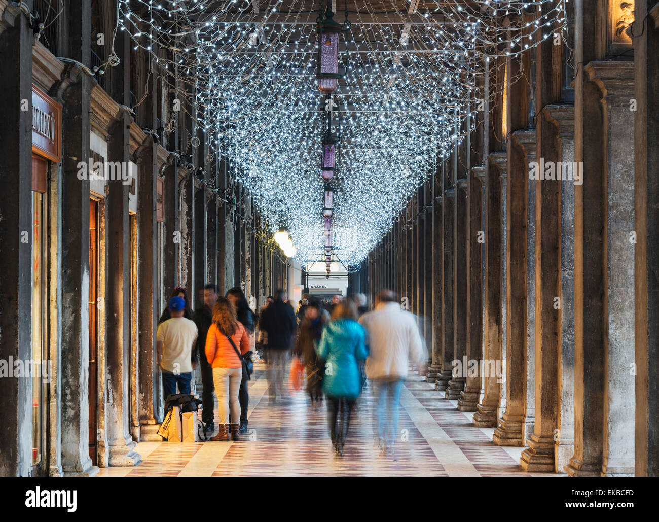 Christmas decorations, St. Marks Square, San Marco, Venice, UNESCO World Heritage Site, Veneto, Italy, Europe - Stock Image