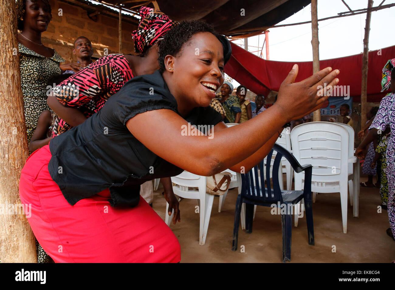 Pentecostal Sunday service, Missessinto, Benin, West Africa, Africa - Stock Image