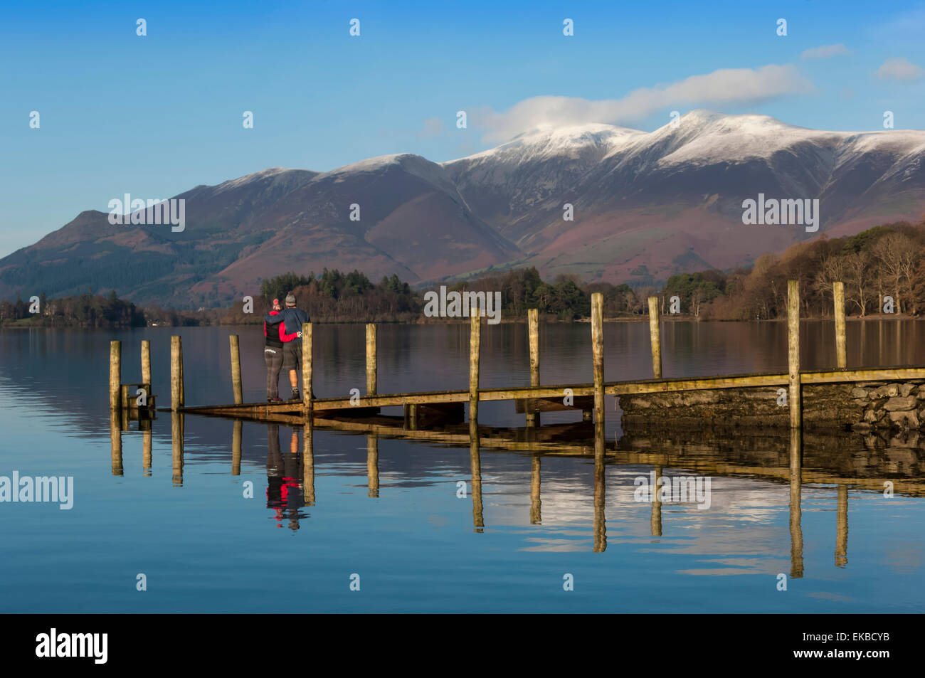 Ashness Boat Landing, Skiddaw Range, Derwentwater, Keswick, Lake District National Park, Cumbria, England, UK - Stock Image