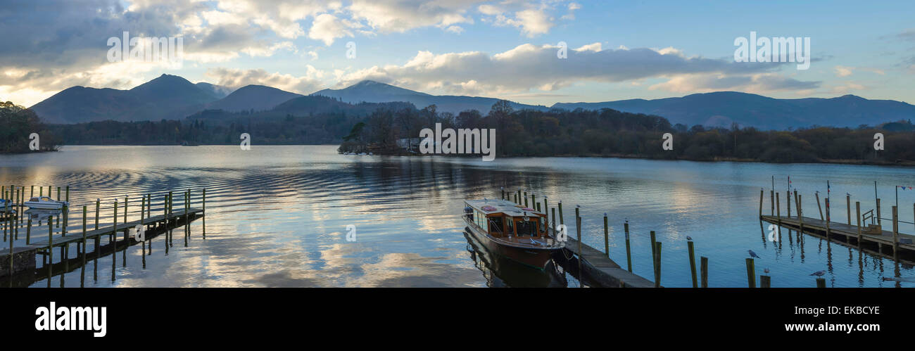 Boat landings, Derwentwater, Keswick, Lake District National Park, Cumbria, England, United Kingdom, Europe - Stock Image