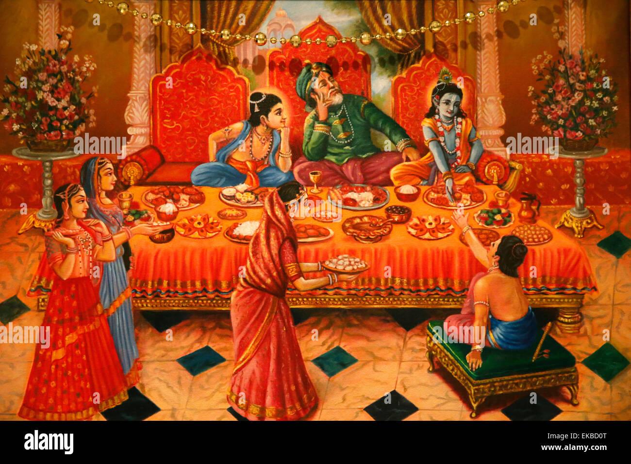 Painting in the London ISKCON Hindu temple of Krishna with his brother Balaram and father Nanda Maharaj, London, Stock Photo