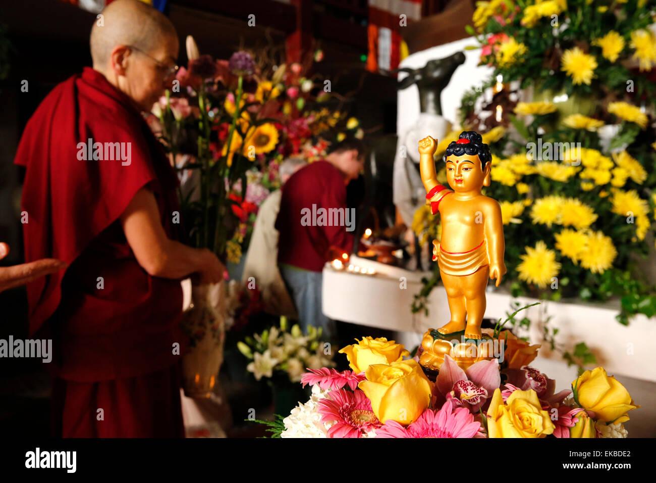 Wesak (Buddha's birthday, awakening and nirvana) celebration at the Great Buddhist Temple (Grande Pagode de - Stock Image