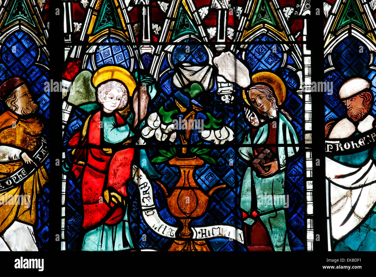 Stained glass window depicting Announcement made to Mary, Our Lady of Strasbourg Cathedral, Strasbourg, Bas-Rhin, Stock Photo