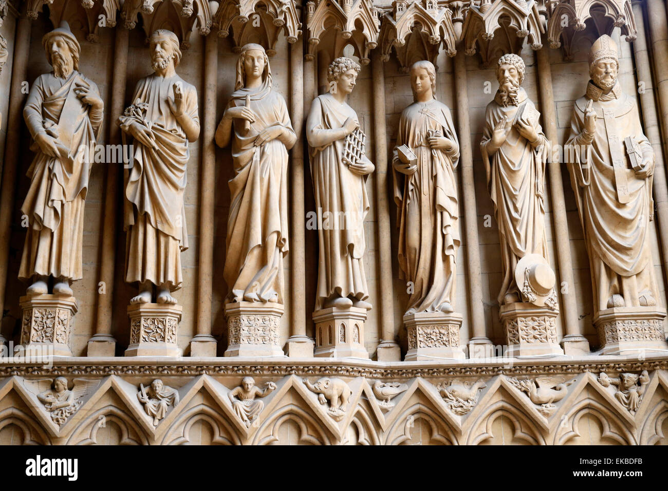Portal of the Virgin showing the Saints from left to right, Metz Cathedral, Metz, Lorraine, France - Stock Image